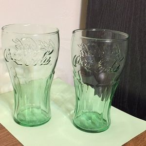 "Pair of Coca Cola green tinted glasses 6 1/2"""